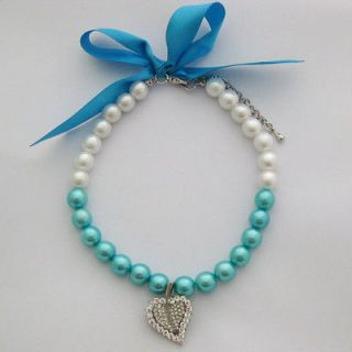 Dog pearls necklace with crystal leaf charm,pet collar/10 12