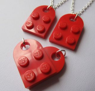 Lego Heart Set of 2 Friendship Best Friend Necklaces Joins to make a