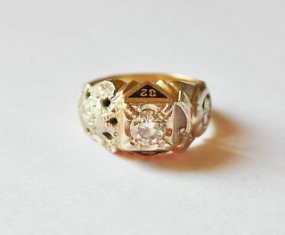 Vintage 10K &14K Gold Masonic Ring 0.60CT 70CT Diamond Ring