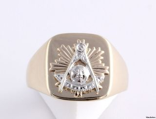 CUSTOM* Past Master Masonic Emblem Masons Ring   14k Gold Solid Back