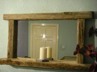 Large Rustic Chunky Frame Driftwood Mirror