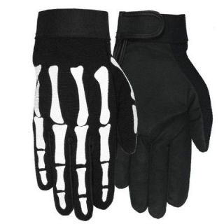MOTORCYCLE BIKER HAND BONE SKELETON BLACK MECHANIC GLOVES MEDIUM