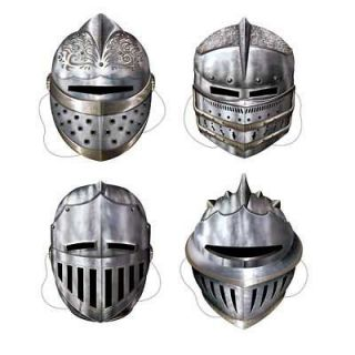 Medieval Party 4 Thin Card Suit Of Armour Face Masks