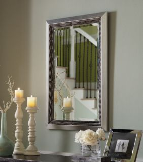 Silver Leaf Beveled Wall Mirror Wood Frame Large Rectangular Chic