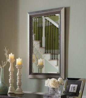 Silver Leaf Beveled Wall Mirror Wood Frame Large Rectangular Chic