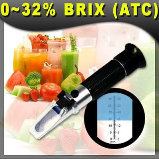 Brix Refractometer, 0 32% ATC, Fruit Juice wine NEW