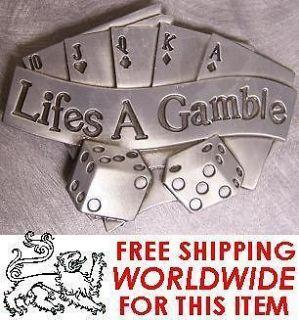 Metal Belt Buckle Poker Dice Lifes A Gamble NEW