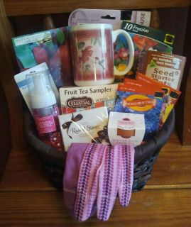 Deluxe Gardening Mothers Day Gift Basket Pink Ribbon Garden Tools