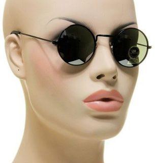 Retro Style Shades Round Engraved Black Frame Mirror Lens Sunglasses