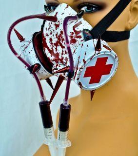 BLOODY SYRINGE BIO HAZARD GAS MASK MEDICAL ANIME COSPLAY HALLOWEEN