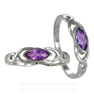Amethyst Celtic Knot Gemstone Ring Sz 4 15 SS Sterling Silver Knotwork