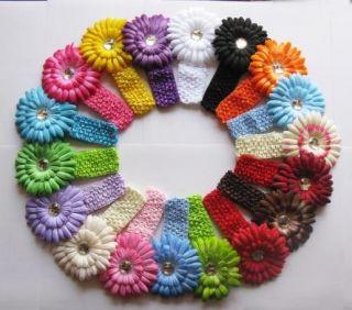 Wholesale 20 Baby 4 Daisy Flower Hair Bow clip with 20 Girls Crochet