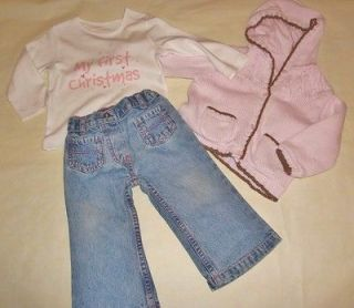 GIRLS 9 12M PINK JACKET, JEANS & BNWOT MY FIRST CHRISTMAS TOP MULTI