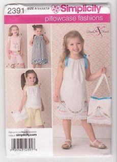 Simplicity Pattern 2391 / 0460 Pillowcase Dress, Top, Pants Sz 3 8