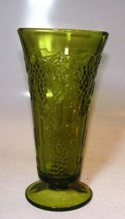 Vintage tall green glass vase Grapes leaves vines