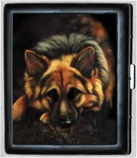German Shepherd Dog Metal Wallet ID Business Card Cigarette Case