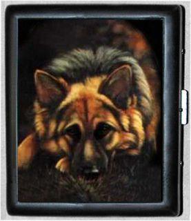 German Shepherd Dog Metal Wallet ID Business Card Cigarette Case