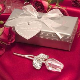 76 Crystal and Glass Long Stem Rose Wedding Favors ~