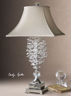 Glass Crystal Table Lamp Silver Metal Accents Bell Shade Horchow