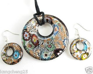 Dichroic Foil Murano Art Glass Round Pendant Necklace Earrings set