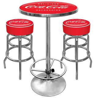 Coca Cola Pub Table and 2 Stool Set   Coke Gameroom Set