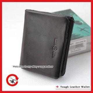 New Tough Punk Genuine Leather Black Mens Womens Trifold Wallet purse