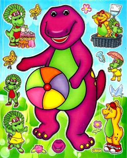 Barney BJ Baby Bop Sticker ~BL123~Picnic Beach Ball