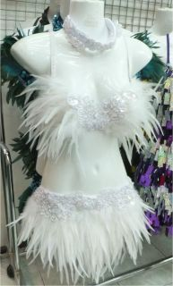 EVITA FTR Feather Dance Drag Bra Skirt Bra Belt White Swan Costume Set