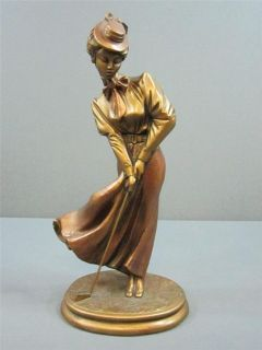 1992 Austin Products Ceramic Sculpture Lady Golfer Signed By Danel