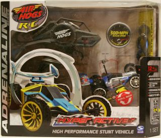 Air Hogs R/C Hyper Actives Stunt Race Car Blue/Silver   Damaged Box