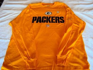 GREEN BAY PACKERS Logo NFL Reebok Apparel YELLOW Long Sleeve T Shirt