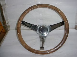 VINTAGE SUPERIOR THE 500 WOOD STEERING WHEEL AND ADAPTER GM CAMARO