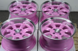 Pink Rims Yaris Civic Jetta Aveo Jetta Cobalt Low Offset 4 Lug Wheels