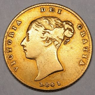 1841 QUEEN VICTORIA GREAT BRITAIN GOLD HALF SOVEREIGN COIN