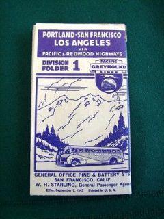 GREYHOUND Bus Line 1943 Schedule Oregon California Pacific & Redwood