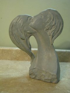 AUSTIN PROD Products ART SCULPTURE 1980 Lovers Kissing MAN/WOMAN Faces
