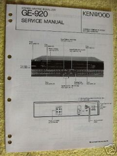 KENWOOD GE 920 GRAPHIC EQUALIZER SERVICE MANUAL