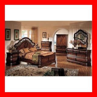 Formal Cherry Queen King Sleigh Bed 4 Pc Bedroom Set Furniture