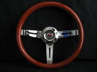 NEW 14 DEEP DISH MAHOGANY WOOD GRAIN STEERING WHEEL