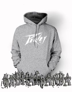 Grey Hoodie with White PEAVEY Guitar logo   Amp Vintage Retro Wolfgang