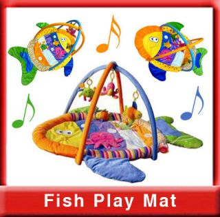 Unisex Fish shape baby play mat activity gym with different fabrics