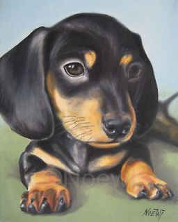 DACHSHUND PUPPY Original oil painting by NOEWI dog animal portrait
