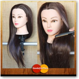 60% @ 55CM Real Human Hairdressing Training Head Cosmetology Mannequin