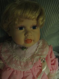 1990 Hamilton PORCELAIN DOLL Collection Heritage Doll Blonde Baby