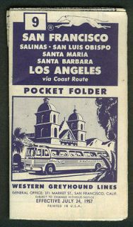 Western Greyhound Bus Lines San Francisco Los Angeles Schedule #9 7/24