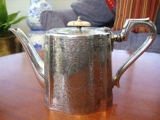 AN ORIGINAL GEORGIAN STYLE ANTIQUE EPNS SILVER PLATED TEA POT B B.S