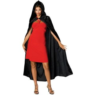 Black Velvet Hooded Cloak Adult Cape Halloween Costume