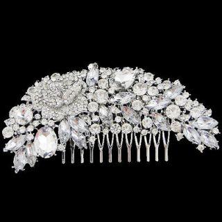 Flower Rose Marquise Rhinestone Hair Comb Crown Pieces Rhinestone