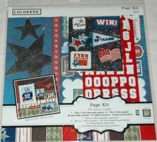 COLORBOK PAGE KIT 12 X 12 SPORTS PAPER STICKERS & DIE CUT ACCENTS MAKE