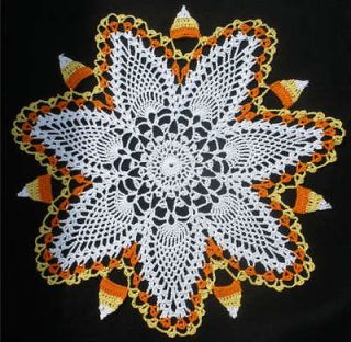 New Hand Crochet Fall Autumn Halloween Candy Corn Doily